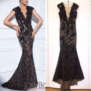 exc TONY BOWLS lace mermaid sheer illusion dress